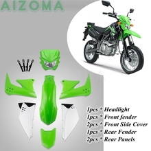 Green Dirt Pit Bike Headlight Body Side Cover Fairing Full Guard Kit w/ Front Rear Fender Mudguard For Kawasaki KLX 150  KLX150