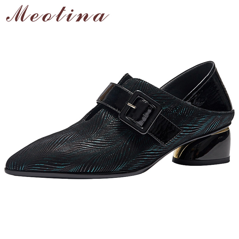 Meotina High Heels Women Pumps Natural Genuine Leather Strange Style Heels Shoes Sheepskin Buckle Pointed Toe Shoes Lady Size 42