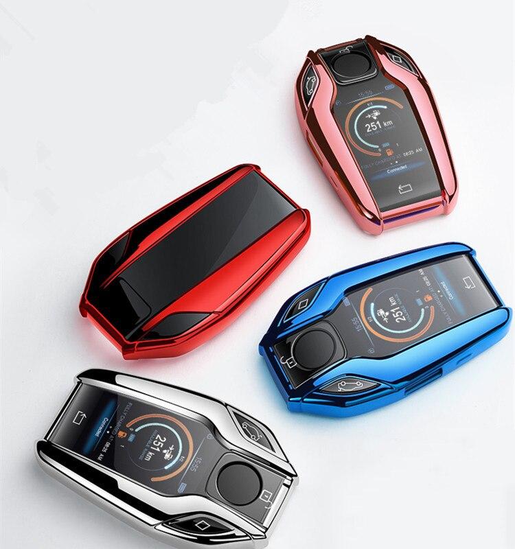Мягкий TPU чехол для автомобиля полностью светодиодный Дисплей ключ чехол в виде ракушки для BMW 5 7 серии G11 G12 G30 G31 G32 i8 I12 I15 G01 X3 G02 X4 G05 X5 G07 X7