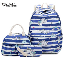 New Unicorn Print Backpack 3 PCS School Bags For Girls Teenage Striped Backpacks Fashion Daypack Lunch Pencil Large Mochila