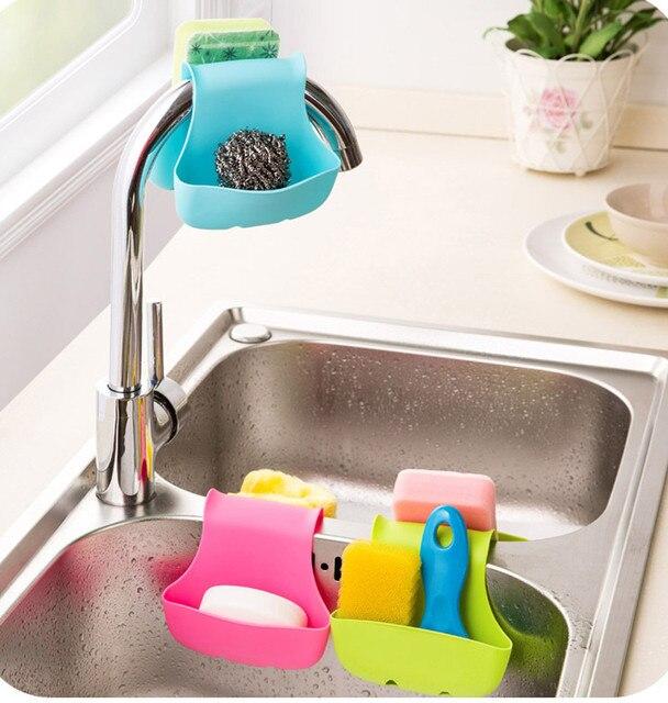 Creative Double évier support Caddy selle Style filtre à eau cuisine bonbons couleur organisateur stockage éponge pliable support outils