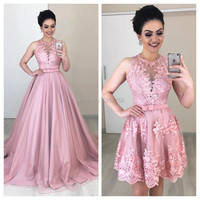 Pink Lace A Line Evening Dresses With Detachable Train Applique Sleeveless 2 in 1 Formal Prom Gown Vestidos De Festa 2020