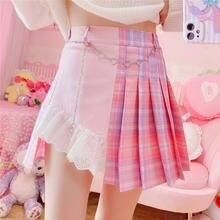 Милая розовая клетчатая мини юбка в стиле Харадзюку женская