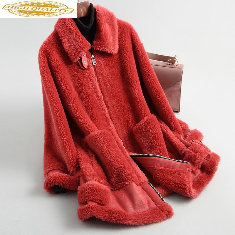 Sheep Shearing Real Fur Coat Korean Elegant Casual Ladies Winter Wool Jacket Women Medium Length Warm Red Overcoat 19001