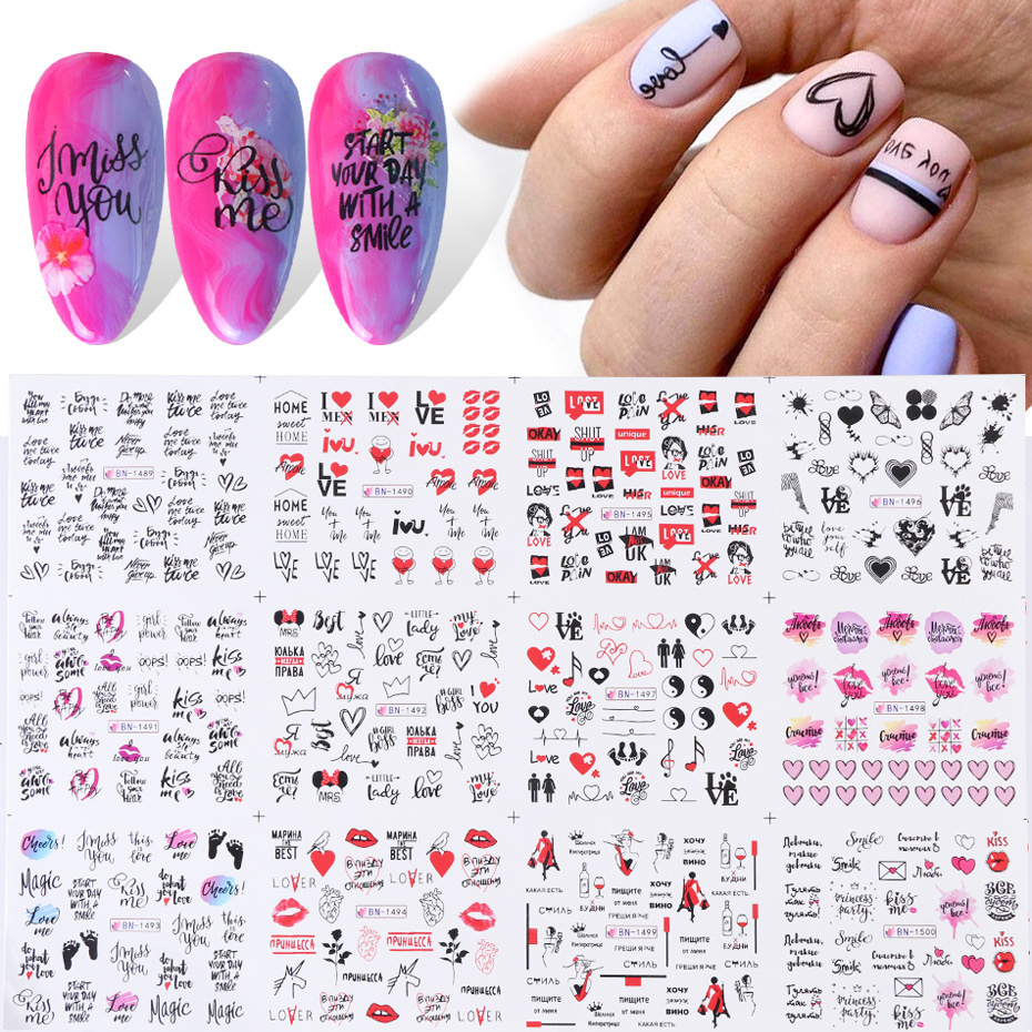 Наклейки для ногтей на День святого Валентина, 12 шт., декоративные Водные Наклейки для ногтей с цветами, красными губами