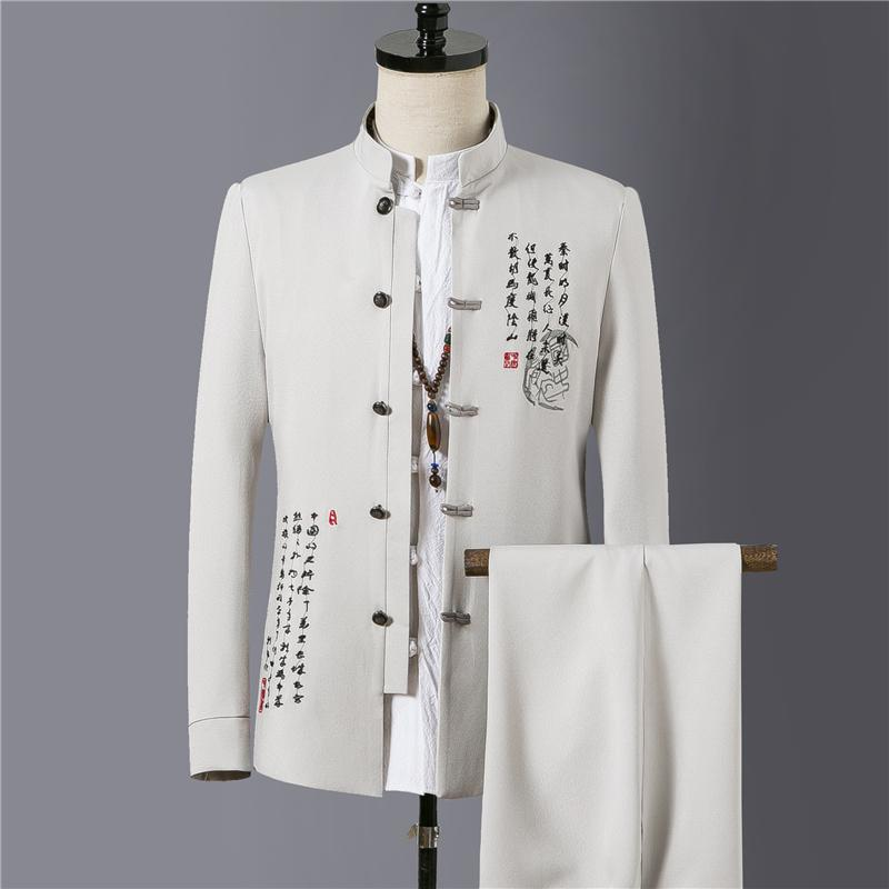 M 4XL Men Groom Suit Jacket With Pants Embroidery Chinese Tunic Suit Mens Singer Star Style Dance Stage Clothing Formal Dress