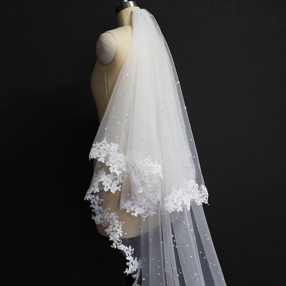 Pearls Wedding Veil With Lace 2 Layers Cover Face Pearls Bridal Veil 3.5 Meters Long Veil With Blusher Wedding Accessories