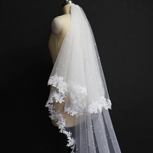 Pearls Wedding Veil with Lace 2 Layers Cover Face Bridal 3.5 Meters Long Blusher Accessories