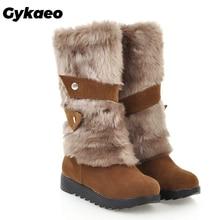 Gykaeo حار بيع النساء حذاء الثلج عالي الرقبة دافئ 2020 الخريف والشتاء الأم الترفيه مسطحة القاع حجم كبير أحذية قطنية امرأة بوتاس موهير