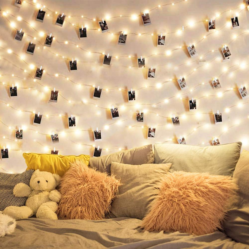 LED Photo Clip String Lights 100 LED Wooden Picture Lights Fairy Lights USB For Indoor Hanging Photos, Notes, Paintings Card
