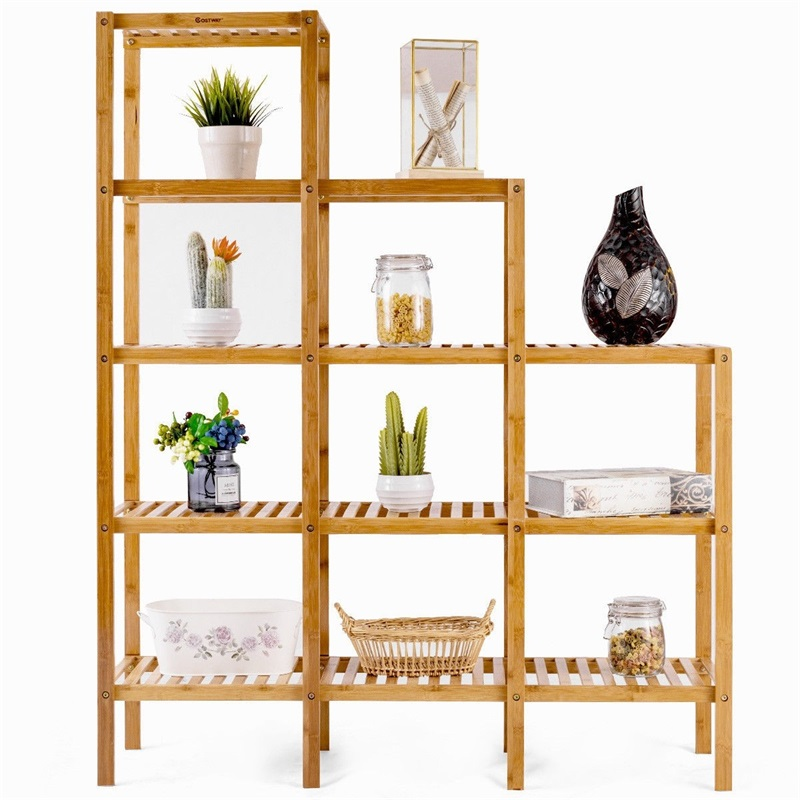 Multifunctional Bamboo Shelf Display Organizer Bookcases Storage Capacity Standing Shelves HW57413