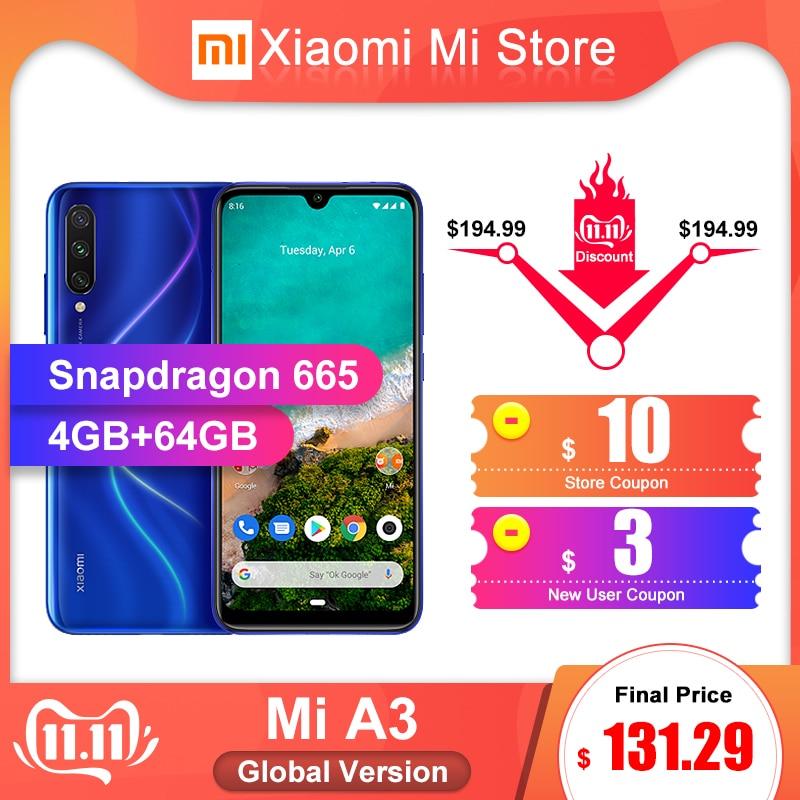 "Global Version Xiaomi Mi A3 4GB 64GB Mobile Phone 6.088"" Snapdragon 665 Octa Core 48MP + 32MP AI Camera 4030mAh"