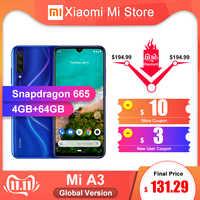 """Globalna wersja Xiao mi mi A3 4GB 64GB telefon komórkowy 6.088 """"Snapdragon 665 octa core 48MP + 32MP AI kamera 4030mAh"""