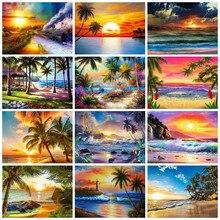 HUACAN – peinture diamant paysage de bord de mer, broderie complète, mosaïque, point de croix, artisanat, Art mural