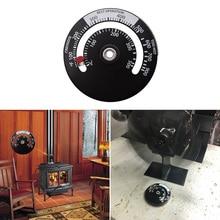 Termómetro magnético de estufa de madera, termómetro de estufa con ventilador para hogar, termómetro con sonda, accesorios para chimenea, herramientas para horno