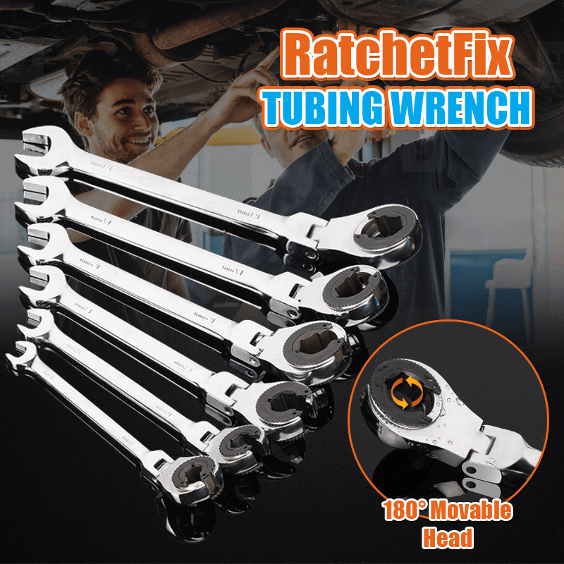 Tubing Ratchet Wrench With Flexible Head Mirror Polishing Maintain Repair Tool