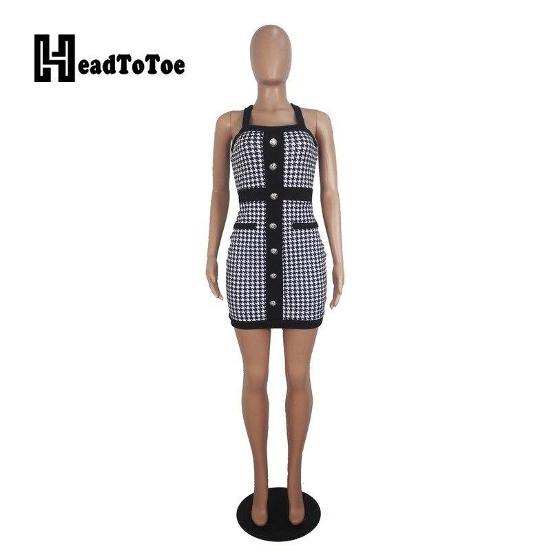 Houndstooth Print Colorblock Button Design Bodycon Dress OL Workwear Women Sexy Sleeveless Cross Back Halter Party Dress 3