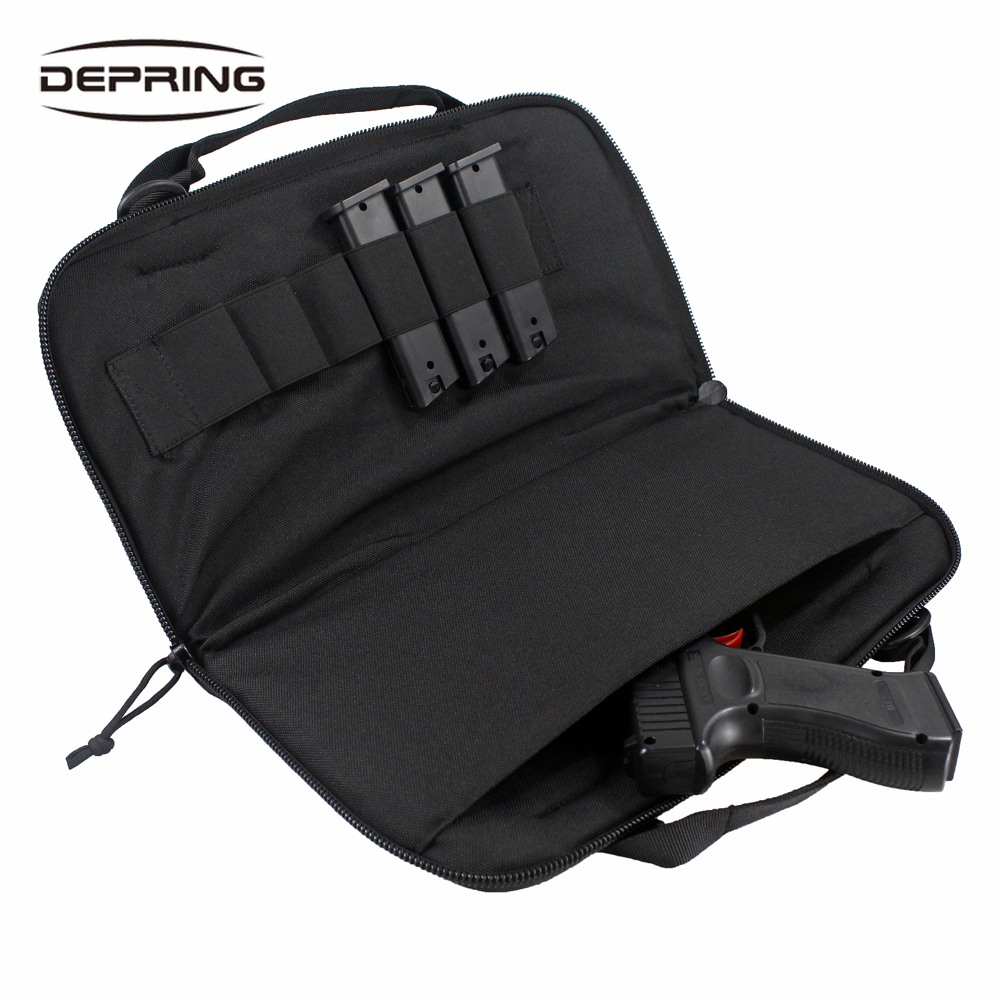Tactical Attache Pistol Case Shooting Range Handgun Bag Magazine Pouch For Gun Storing Transporting