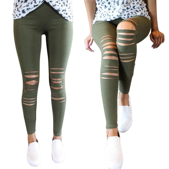 Women Leggings Holes Pencil Stretch Casual Denim Skinny Ripped Pants High Waist Jeans Trousers New Fashion Pants Streetwear D30