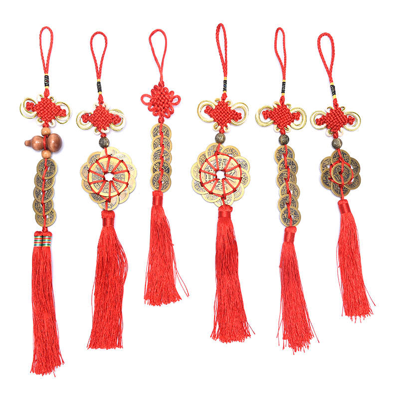 Traditional Chinese Emperor Money Lucky Charm Ancient Coin Red Chinese Knot Collection Gift Copper Coins Keychain Good Fortune