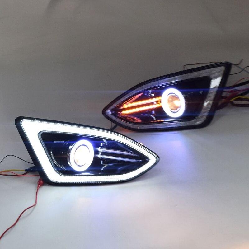 LED DRL feux de jour feu de brouillard avec COB Angel Eye 12V voiture feux de circulation pour Ford Edge 2015 2017
