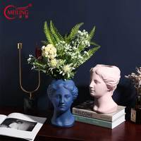 Modern Ceramic Head Vase Handmade Decorative Flower Vase Planter Head Sculpture Art Collectible Unique Home Office Decor Gifts