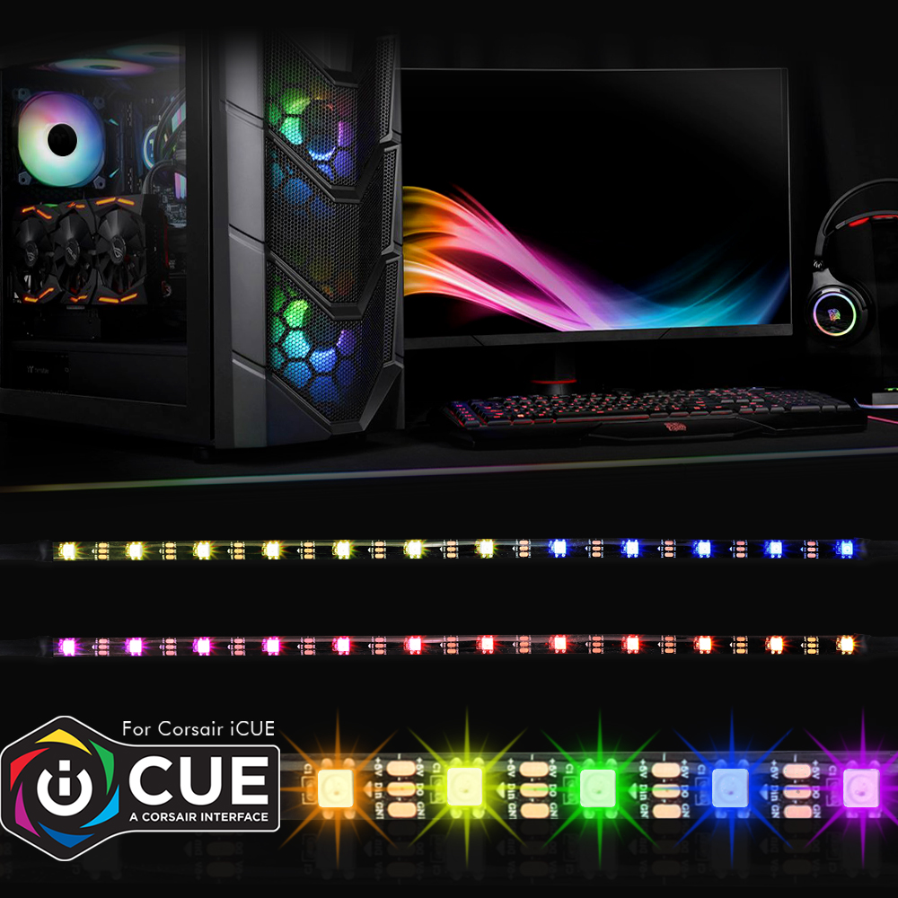 cheapest 40cm Addressable WS2812b Digital LED Strip Rainbow RGB LED Lighting Kit for PC Computer Case Decor for iCUE a CORSAIR Interface