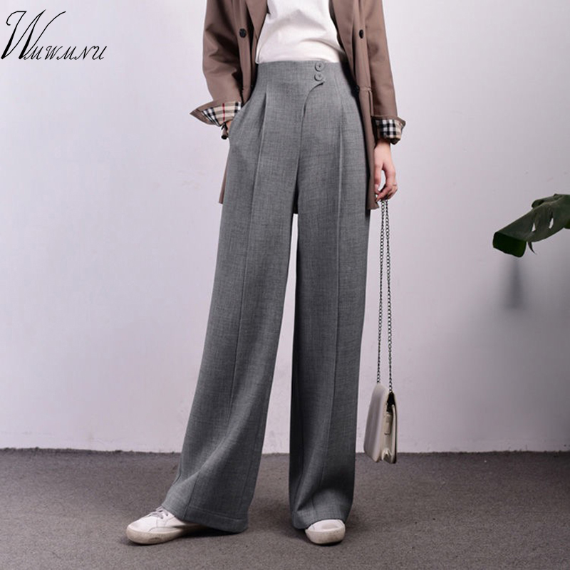 Women's Wide Leg Pants High Waist Zipper Pocket Big Size Long Trousers Spring Female 2020 Fashion OL Clothing