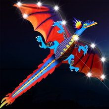 Новое поступление высокого качества Спорт на открытом воздухе светодиодный Дракон воздушный змей с огнями хороший Летающий завод выход