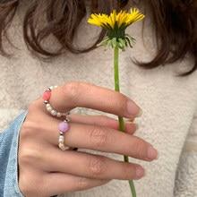Grânulos de pérola de água doce do vintage anéis para mulher artesanal ajustável pedra natural chrismas presente anéis festa presente para meninas