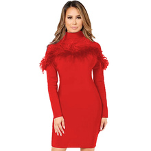 2019 Sexy Dresses Party Night Club Dress Autumn and Winter Long Sleeve Feather Female Vestidos De Verano Women Clothing