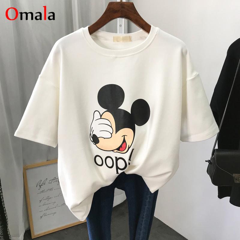 2020 Summer Simple Cartoon T Shirt Women Mickey Funny Print T-shirts Harajuku Graphic White Top Tee Female Casual Korean Clothes