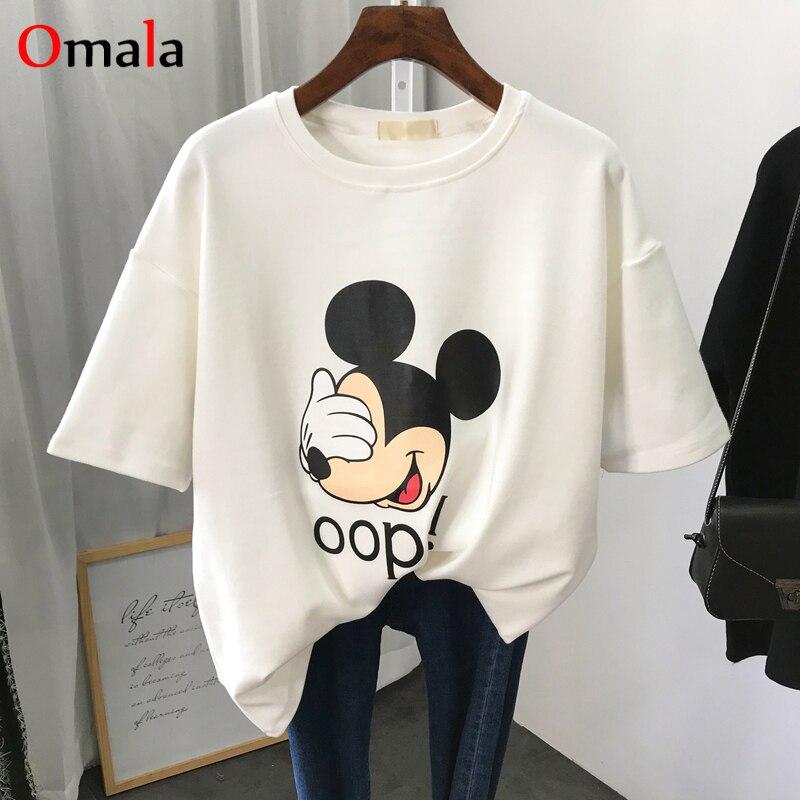 2020 summer Simple cartoon T Shirt Women Mickey Funny Print T-shirts Harajuku Graphic white Top Tee Female Casual korean Clothes