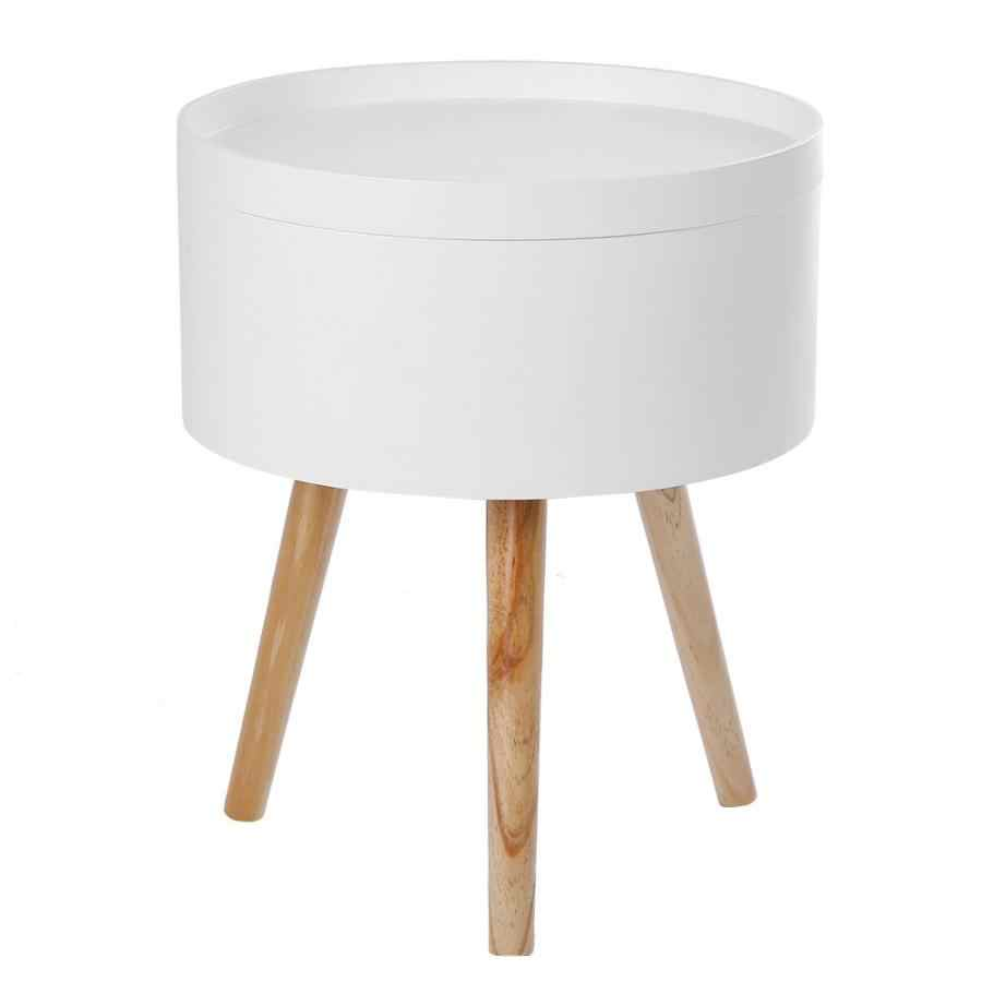 modern round table modern style solid storage round side coffee table with tabletop tray design 38 45cm