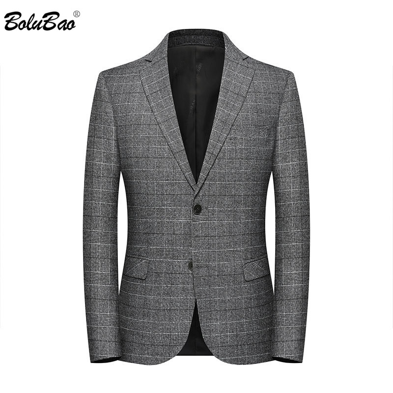 BOLUBAO Spring Autumn Men Casual Blazers Men's V-neck Plaid Suit Coats Male Fashion Slim Fit Blazers Brand Clothing