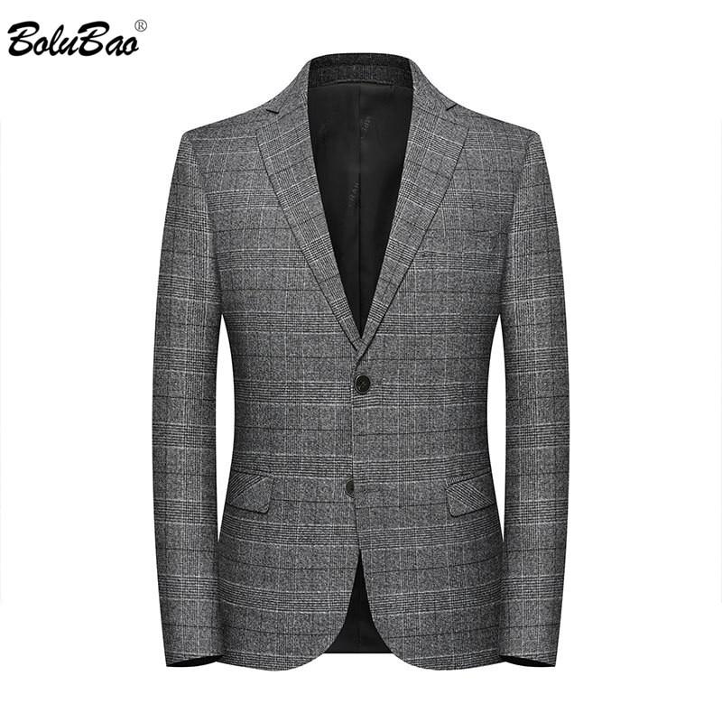 BOLUBAO Spring Autumn Men Casual Blazers Men's V-neck Plaid Suit Coats Male Fashion Slim Fit Blazers Brand Clothing