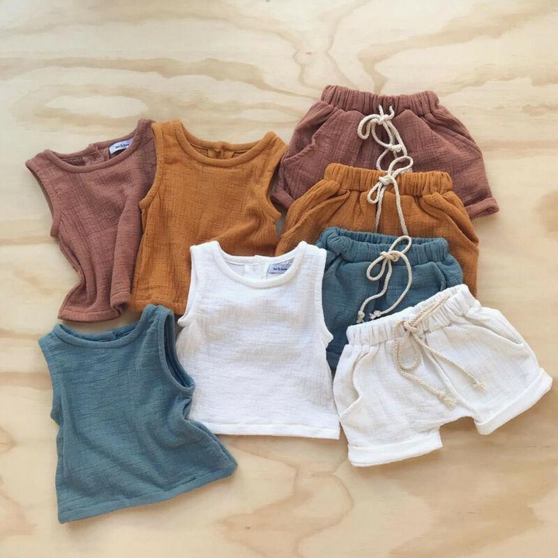 Fashion Summer Kids Baby Girls Boys Outfit Suit Cotton Linen Clothes Set Toddler Solid Casual Vest Tops Short Pants 2Pcs Set