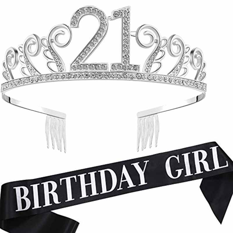 Princess Tiara <font><b>Crown</b></font> sash <font><b>18th</b></font> 21st 30th 40th 50th 16 18 21 30 40 50 years old happy <font><b>Birthday</b></font> girl party decoration gift favor image