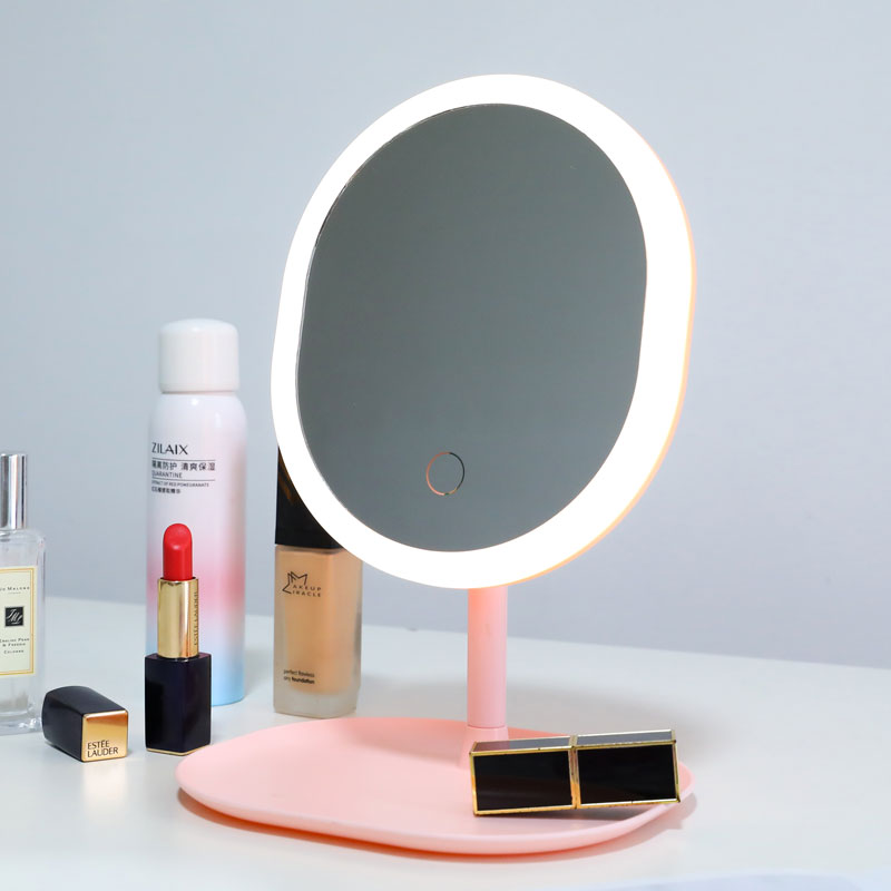 Makeup Mirror With Led Light Cosmetic Illuminated Mirror USB Charging Desktop Stable Mirror Portable Vanity Mirror With Lights