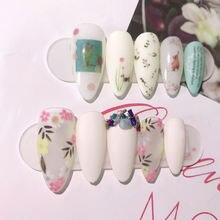 1 шт наклейки для дизайна ногтей цветы деревья розовые листья