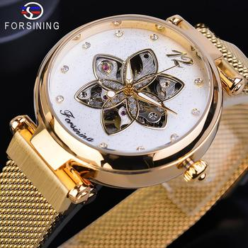 Forsining Female Clock Mechanical Automatic Diamond Top Brand Luxury Womens Watch Gold Mesh Waterproof Fashion Ladies Watches loreo authentic automatic mechanical watch waterproof belt diamond fashion luxury elegant hollow lady watch