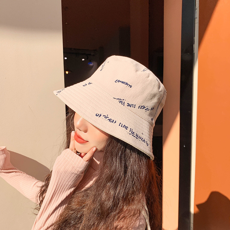 2020 New Product Letter Pattern Fisherman Hat Pink Yellow Black Beige Gray Spring Summer Sun Shade Women's Bucket Hat