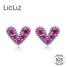 LicLiz 2019 New 925 Sterling Silver Round Red Zircon Heart Stud Earrings for Women Crystal White Gold Jewelry LE0617