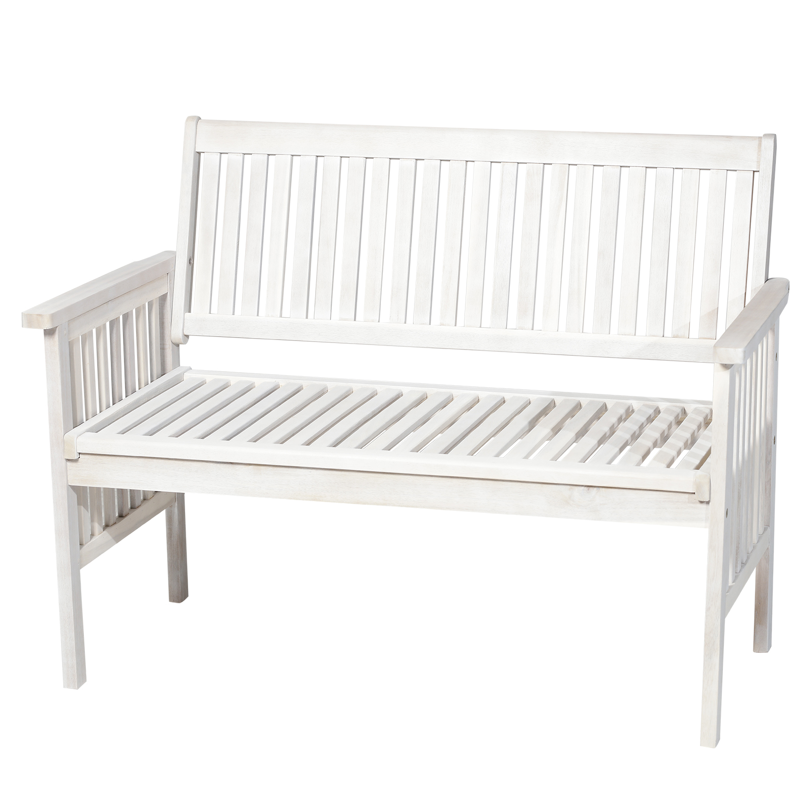 Outsunny Bench Garden 2 People Outdoor Acacia Wood Slatted 117x63x90 Cm White