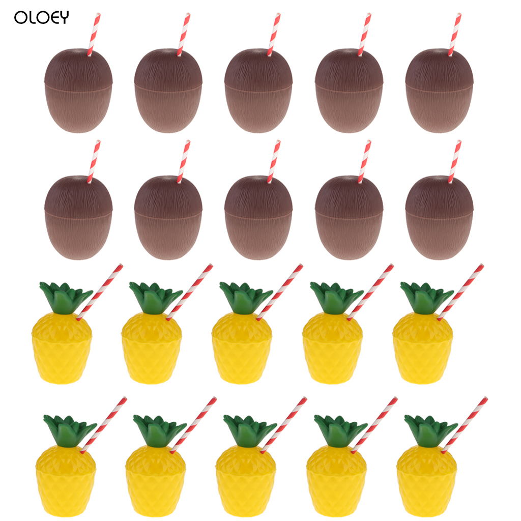 Pack Of 5 Tropical Pineapple Coconut Drink Cups+Straw Set For Beach Cocktail Party Supplies  Eco-Friendly   Creative Fun Happy..