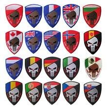 Adesivo militar bordado de velcro, crânio, guerra 3d, portugal, polonesa, espanha, adesivos para soldado, insígnias para T-N