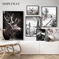 Скандинавский зимний пейзаж, постер с принтом, горный лес, холст, живопись, олень, настенное искусство, картина, скандинавский стиль, домашни...