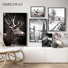 Skandinavischen Natur Winter Landschaft Poster Drucken Berg Wald Leinwand Malerei Deer Wand Kunst Bild Nordic Stil Wohnkultur