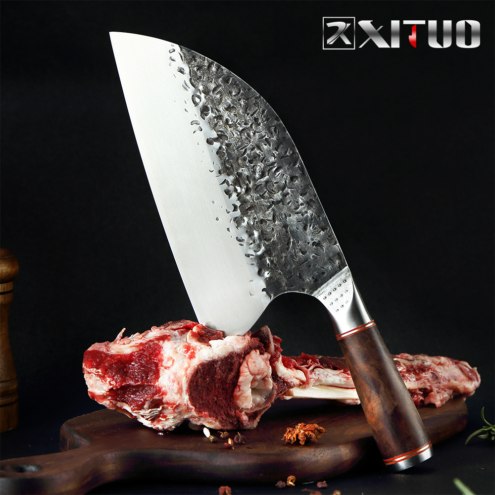 Xituo 스테인레스 스틸 요리사 칼 수제 단조 샤프 클리버 와이드 블레이드 전문 정육점 칼 유틸리티 야채 나이프