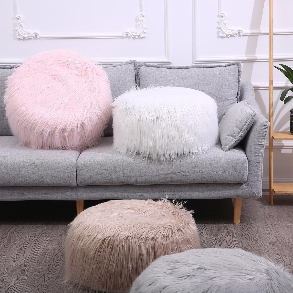 Faux Sheepskin Bean Bag Chair Soft Fur Beanbag Fluffy Small Round Lazy BeanBag Sofa Portable  Inflatable Christmas Decor D20